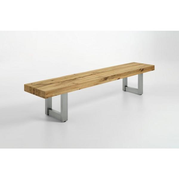 Massivholz Sitzbank 4377 mit Edelstahl-Gestell (200 cm)